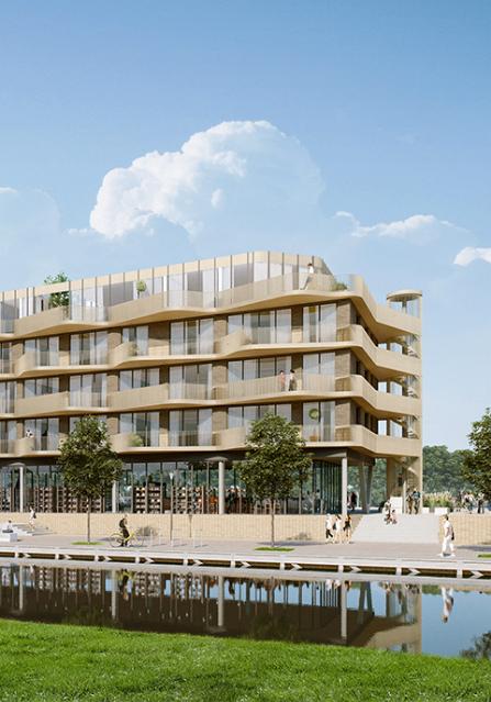 westerschans goes woningbouw golvend balkon water kanaal ontwikkeling geel bruin kade autoloos