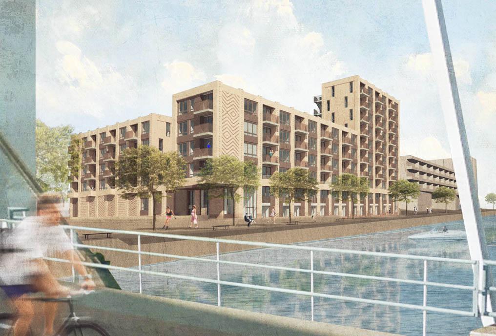 architect westerschans goes zeeland rws sociale huur woning huis bouwen kanaal water geel baksteen patroon geel brug