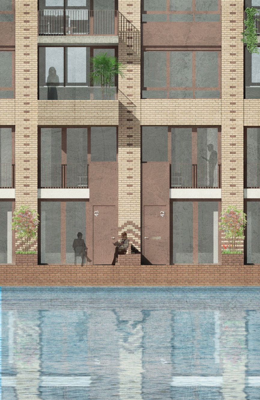architect westerschans goes zeeland rws sociale huur woning huis bouwen kanaal water geel baksteen patroon geel brug fragment detail kadewoning